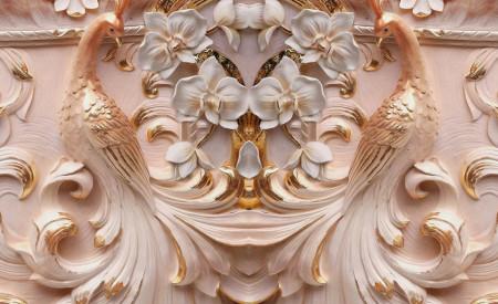 Fototapet 3D, Sculptură cu pîuni și flori