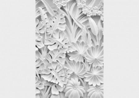 Fototapet Factura, Sculptura cu frunze și flori de culoare albă