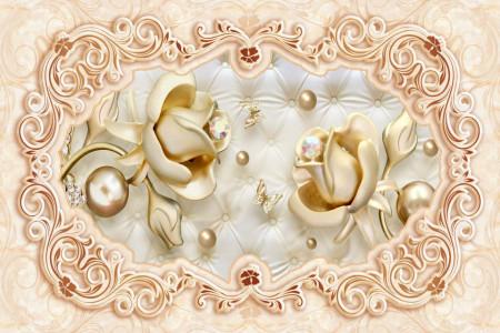 Fototapet Fantezie, Trandafiri aurii pe un fond delicat în culoare bej.