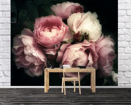 Fototapet, Flori albe și roz