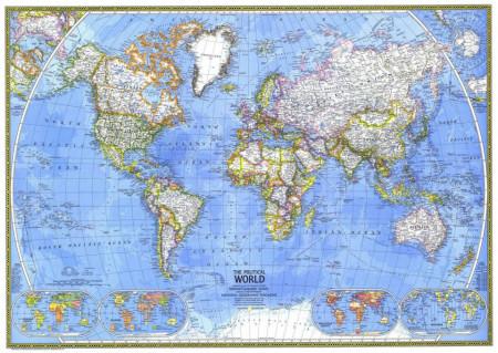 Fototapet, Harta albastră cu continente albe
