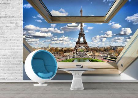 Fototapet, O fereastră cu Priveliște la Turnul Eiffel ziua