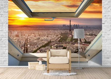 Fototapet, O fereastră cu Priveliște la Turnul Eiffel