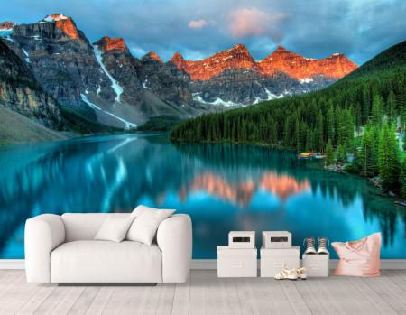 Fototapet, Peisajul cu dealuri și lac