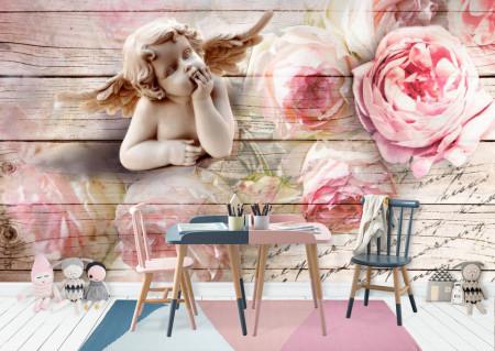 Fototapete 3D, Bujori roz și un inger pe un fundal 3D