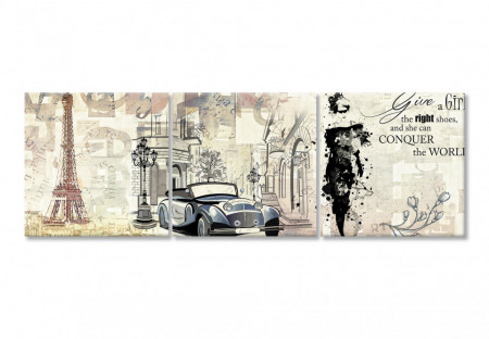 Multicanvas, Figura cu o mașină din Paris și o fată într-o rochie neagră