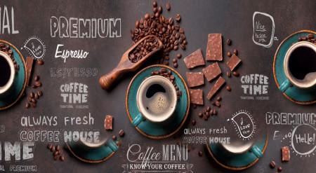 Multicanvas, Paharul albastru cu cafea și boabe de cafea pe o tablă de tablă neagră