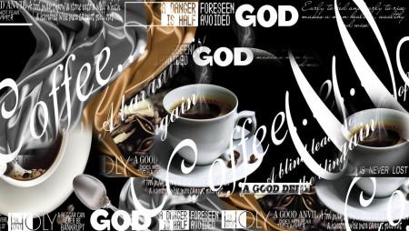 Tablou modular, Cafea cu inscripții pe un fundal negru