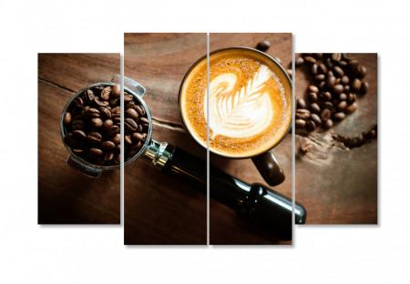 Tablou modular, Cappuccino și boabe de cafea pe masă