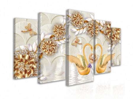 Tablou modular, Lebede de aur pe fundalul broșelor