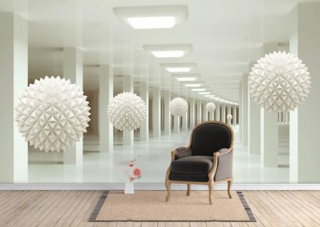 Fototapet 3D, Un culoar și sfere albe
