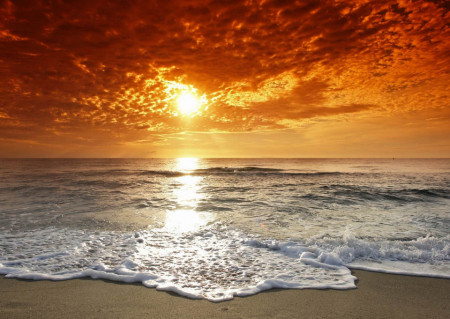 Fototapet, Apusul de soare pe plajă