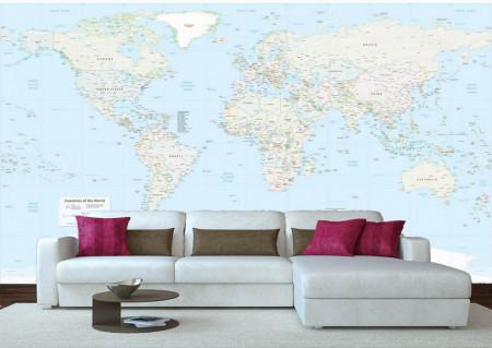 Fototapet, Harta lumii detaliată