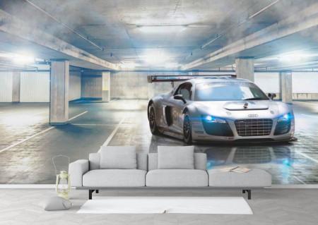 Fototapet, O mașină sport pe fundalul unei clădiri