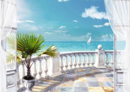 Fototapet, Un balcon alb cu Priveliște spre ocean