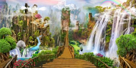 Fototapet, Un pod lung din lemn de-a lungul unui peisaj cu cascade