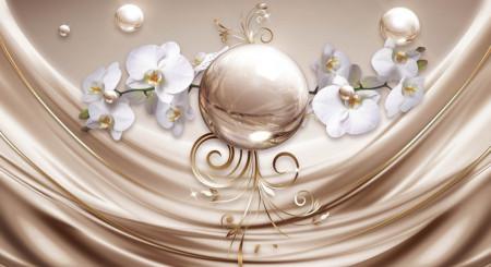 Fototapete 3D, Bilă aurie și orhidee albă pe un fond maro de mătase