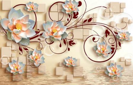 Fototapete 3D, Flori de lotus albe cu ornamente bordo pe un fundal 3D