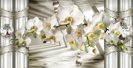 Fototapete 3D, O orhidee albă pe fundalul unor coloane.