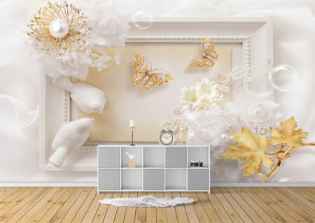 Fototapete 3D, Rama albă glamoroasă.