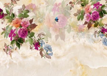 Fototapete, Crenguțe cu flori multicolore