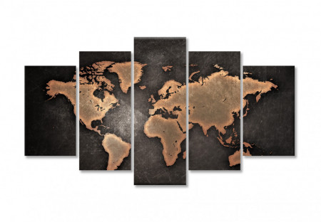 Multicanvas, Harta politică a lumii pe fundalul maro
