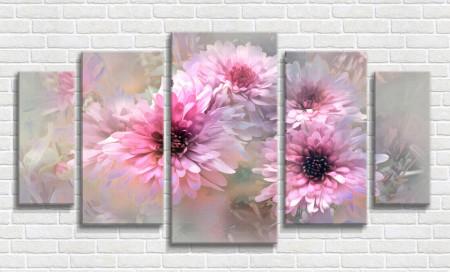 Tablou modular, Crizanteme roz