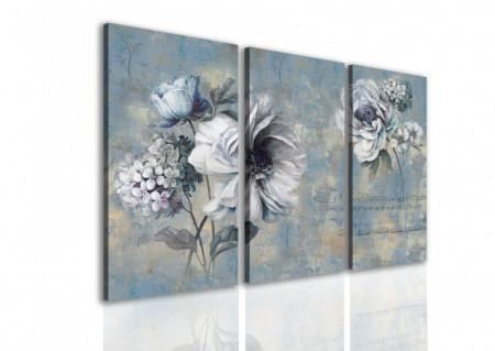 Tablou modular, Flori albastre abstracte.