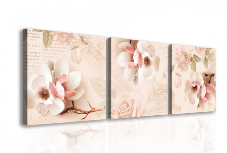 Tablou modular, Flori delicate de roz