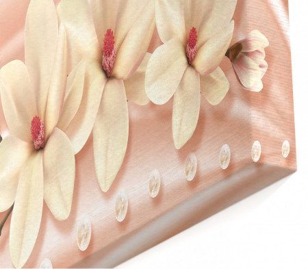 Tablou modular, Magnolia albă pe un fundal roz