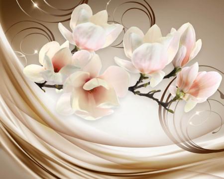 Tablou modular, Magnolia pe un fundal bej