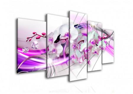 Tablou modular, Orhidee albă cu linii de culoarea liliacului.