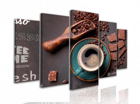 Tablou modular, Pahar albastru cu cafea și boabe de cafea