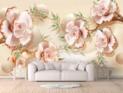 Fototapet 3D, Arbore de porțelan cu flori