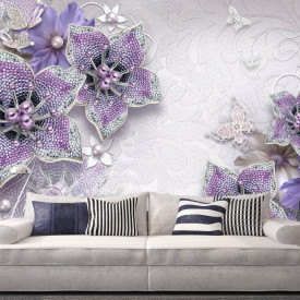 Fototapet 3D, Fantezie cu flori violet și pietre prețioase