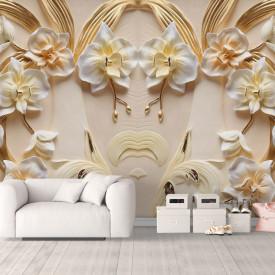 Fototapet 3D, Flori albe cu petale de aur