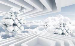 Fototapet 3D, Model abstract cu forme geometrice și nori