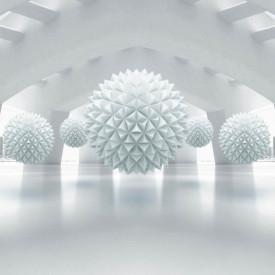 Fototapet 3D, Sfere pe un fundal 3D