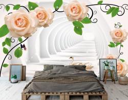 Fototapet 3D, Trandafiri bej și lebede pe fundalul tunelului