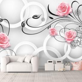 Fototapet 3D, Trandafiri roz cu frunze negre pe un fundal alb