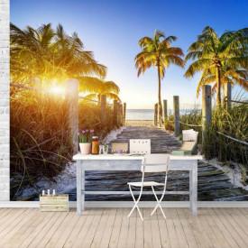 Fototapet, Apusul de soare și palmieri