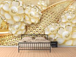 Fototapet Fantezie, Broșa de aur sub formă de flori pe un fond auriu