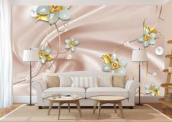 Fototapet, Flori aurii și albe pe un fundal de mătase roz
