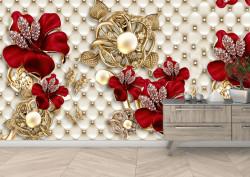 Fototapet, Flori roșii cu fundal de piele