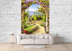 Fototapet Fresco, Fototapete cu o vedere din fereastra arcuită și flori de liliac