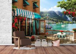 Fototapet Fresco, Fototapete cu o vedere la cafeneaua de lângă lac