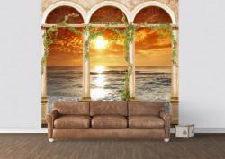 Fototapet Fresco, Un balcon arcuit și priveliștea spre apus de soare