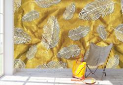 Fototapet, Frunze de aur pe un fundal bej