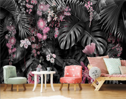 Fototapet, Frunze de plante tropicale cu flori roz