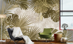 Fototapet, Frunze tropicale de culoare deschisă